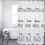 Moderne Einfach H20 Molekulare Formel Weiß Extra Lang PEVA Duschvorhang 300 x200 cm Wasserdicht und Anti-Schimmel Entwurf Badezimmer mit 12 Duschvorhang Ringe ShowPower Nr.1019