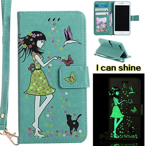 EUWLY Case Cover per iPhone 7 Plus/iPhone 8 Plus (5.5) Custodia Portafoglio PU Pelle Nottilucenti Luminosa Elegante Ragazza e Gatto con Fiori Farfalla Modello Premium Morbido PU Leather Wallet Custod Verde
