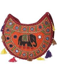 Women's Embordierd Multi Coloured Shoulder Bag/Traditional Bag/Jhola/Jaipuri Rajsthani Bag - B07D7FHH1W