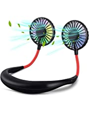 Hands Free Portable Neck Fan Rechargeable Mini USB Personal Fan Battery Operated with 3 Level Air Flow for Home Office Travel Indoor Outdoor(Multicolor)