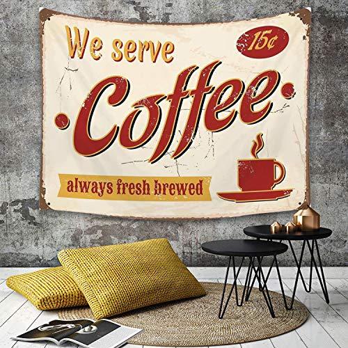 Tapestry, Wall Hanging, 1950er Jahre Dekor, Retro-Stil Zinn rostig verblasst frisch gebrühten Kaffee Print aus ,wall hanging wall decor, Bed Sheet, Comforter Picnic Beach Sheet home décor 180 x 230 cm