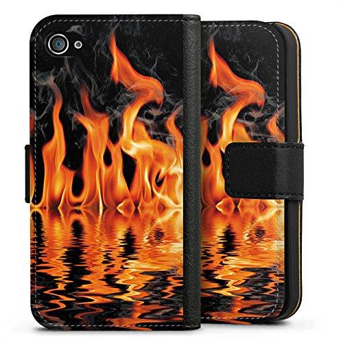 Apple iPhone X Silikon Hülle Case Schutzhülle Feuer BBQ Grillen Sideflip Tasche schwarz