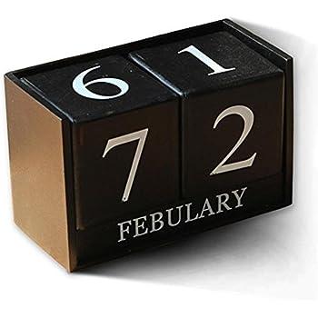 Schwarz/weiß Holz Schreibtisch Kalender Retro Vintage Holz Block Perpetual Kalender Holz Umwelt Büro Zu Hause Schreibtisch Dekor Diy Office & School Supplies Kalender