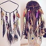 Aukmla Accessoires Cheveux Tribal Feather Boho Bandeau Perles mignon Masquerade Déguisement Oreillette hippie