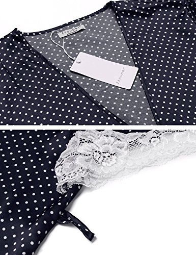 Ekouaer Schlafanzug damen satin Spitze Pyjama set Morgenmantel kurz schwarz rot blau Blau