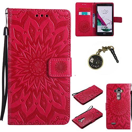 Preisvergleich Produktbild für LG G4 Hülle,Hochwertige Kunst-Leder-Hülle mit Magnetverschluss Flip Cover Tasche Leder [Kartenfächer] Schutzhülle Lederbrieftasche Executive Design +Staubstecker (4FF)