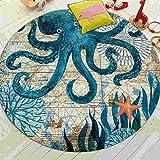 Teppich für Kinder Coral Velvet Computer Stuhl Bodenmatte Sea Turtle Octopus Printed Runde...