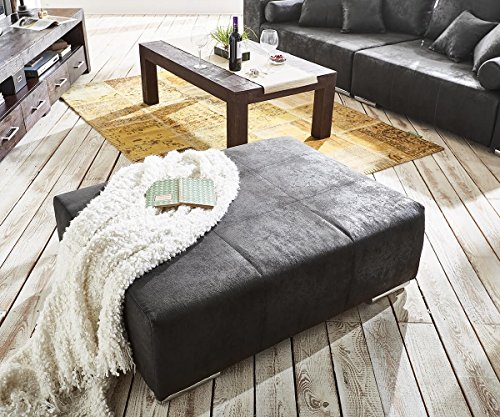 DELIFE Bigsofa Marbeya Anthrazit 285×115 cm Antik Optik inklusive Hocker Big Sofa
