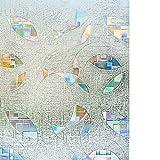 Rabbitgoo Statische Fensterfolie Fensterschutzfolie Dekorfolie Sichtschutzfolie Selbsthaftend Anti-UV Statik 60 * 200cm