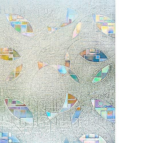 rabbitgoo 3D Fensterfolie Selbstklebend Sichtschutzfolie Statisch Dekofolie Anti-UV Statik Muster 90 x 200 cm