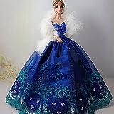 WayIn® Moda diseño del bordado de la tarde del partido del vestido de boda hecho para adaptarse a las muñecas Barbie (Azul real)