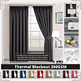 """Interwoven Supersoft Insulated Thermal Blackout Pencil Pleat Pair Curtains for living Room & Bedroom (66"""" Width X 72"""" Drop (167 x 183 CM), GRAY)"""