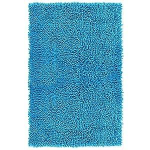 Lashuma Badematte Blau - Neptun Chenille, Rutschfester Duschvorleger aus 100% Baumwolle, 50 x 80 cm