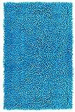 Lashuma Badematte blau - Neptun Chenille | Rutschfester Duschvorleger | 100% Baumwolle | 50 x 80 cm