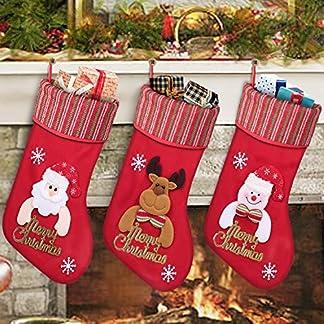 SHareconn Calcetín de Navidad, Tamaño Grande, 3 Piezas,6 Piezas, Calcetines de Fieltro Rojo para Navidad