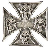 Spilla, croce di Malta e teschio