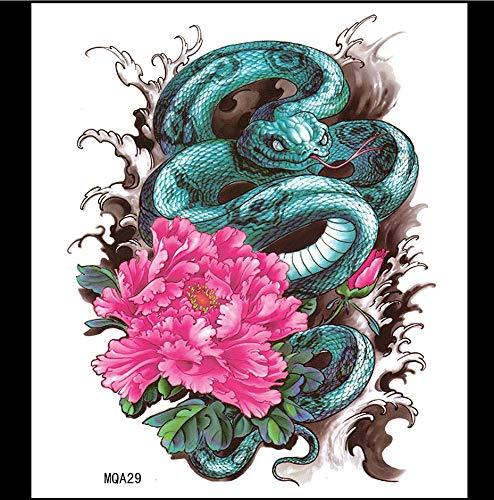 ruofengpuzi Super Großes Bild Python Tattoo Aufkleber Wasserdicht Männer Und Frauen Modelle Pfingstrose Blumen Und Schweiß-Beweis Langlebige Persönlichkeit Thorn Table Shading Aufkleber