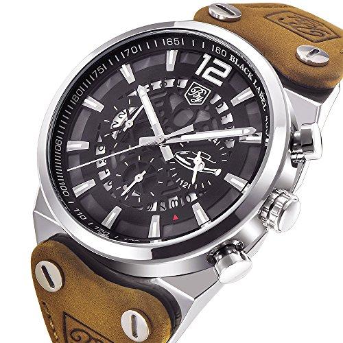 Benyar Sport Herren Uhren Skelett Militär Chronograph Quarz Uhren Für Männer Outdoor Groß Schwarz Zifferblatt Armbanduhr Braun Leder Silber