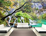 selbstklebende Fototapete - Wasserfall im Herbst - 155x100 cm - Tapete mit Kleber – Wandtapete – Poster – Dekoration – Wandbild – Wandposter – Wand – Fotofolie – Bild – Wandbilder - Wanddeko