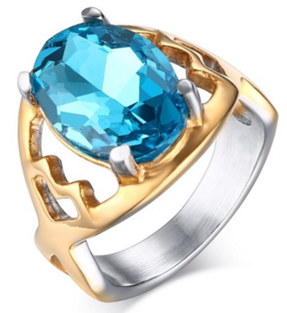 SaySure - 18k gold plated stainless steel big stone ring (SIZE : 7)