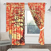 Cortina india con estampado de árbol de mandala para cocina, ventana, cortina y cenefa