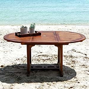 Table de jardin en bois de teck huilé 6/8 places