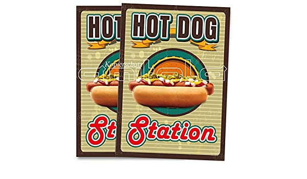 2 x Hot Dog american Imbiss Poster//Plakate DIN A1 Werbung Kundenstopper
