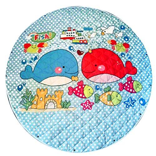 Zicac Baby Spielmatte Teppiche faltbaren Spielzeug Organizer Erlebnisdecke Krabbeldecke, 143cm Ø (Wal)