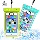 WSTOO Universal Waterproof Case With Armband and Touch ID Fingerprint,IPX8 Waterproof Phone Pouch For iPhone8/8plus/7/7plus/6s/6/6s plus Samsung galaxy s8/s7 (2-Pack) (Grass green + light blue)