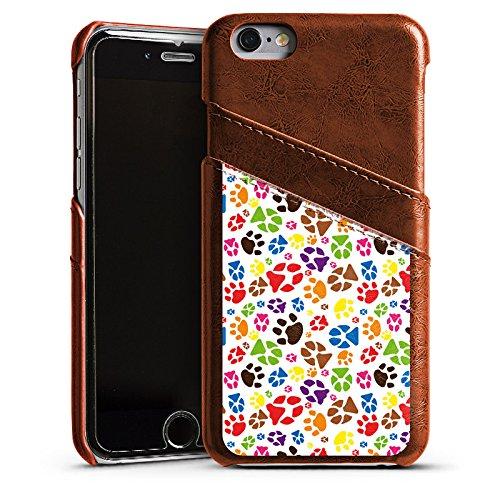 Apple iPhone 6 Housse Étui Silicone Coque Protection Pattes couleur Chien Animaux domestiques Étui en cuir marron