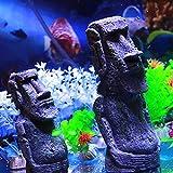 komisch Osterinsel Stein Stein Harz Handwerk antike römische Portrait Aquarium zubehoer deko Dekoration für Fische (L)