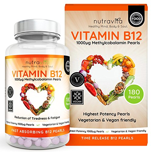 Vitamin B12 1000 mcg Methylcobalamin 180 Time Release Pearls | Contributes to the normal function of the immune system, red blood cell formation & reduction of tiredness and fatigue Test