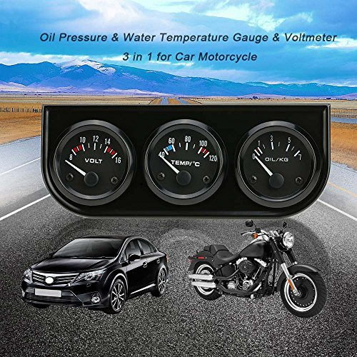 KKmoon 52mm Medidor 3 en 1 Voltimetro Medidor de Presion de Aceite Temperatura de Agua Triple Electronica para Coche Motos