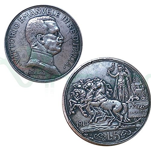 Moneta collezione 5 lire italia 1914 re vittorio emanuele iii savoia replica