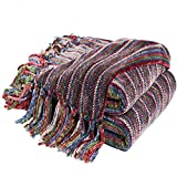Chenille Throw Blanket Bed Throws for Couch and Sofa with Fringe Cozy, Decorative Blanket Thick Throws 150*130cm by Bedsure