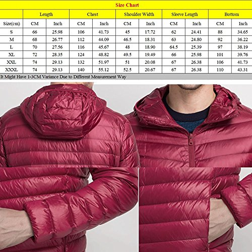 Zhuhaitf Fashion Casual Mens Slim Short Down Coats Outerwear Warm Ultra Light With Hooded Jackets Coats Black