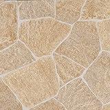 livingfloor® PVC Boden Bruchstein Beige in 2m Breite, Länge variabel Meterware, Größe:1 Muster