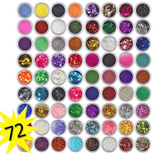 3d Nail (feiXIANG 72 farben/Set 3D Nail Art Glitzer Eye Pulver Nail Art Dekoration Kit Maniküre tipps DIY glitter UV Powder paillette gesetzt(72 Farben))