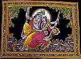 Signore Krishna e Radha paillettes cotone arazzo da appendere decorazione da parete pittura, Cotone, Multi-2, 44x30 inches