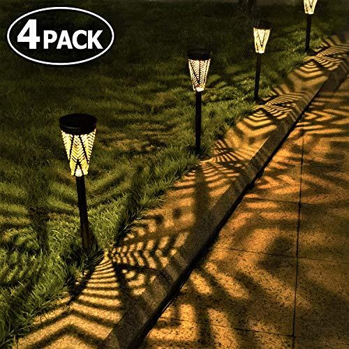 Solarleuchte Garten Solar Gartenleuchte Metall LED Solar Gartenleuchten Solarlampen für Außen Warmweiß Wegeleuchten Wasserdicht Dekorative Licht für Terrasse Gehwege Rasen Patio (4 Stück)