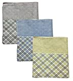 FancyAdda Mens Stylish Handkerchiefs with Light Decent Checks (Pack of 3, Multicolored, 45 cm X 46 cm)