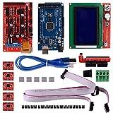 Quimat 3D Printer Drucker Controller Kit für Arduino Mega 2560 Uno R3 Starter Kits + RAMPS 1.4 + 5pcs A4988 Schrittmotor Treiber + LCD Display 12864 für Arduino Reprap
