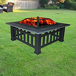 Greenbay garden fire pit heater stove firepit metal square for Amazon prime fire pit