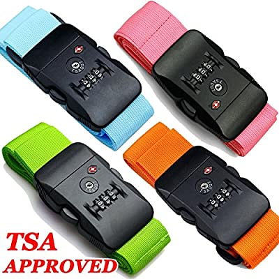 "Hibate TSA Approved Lock Travel Luggage Strap Suitcase Belt - 200cm 78"", 4 Colour"