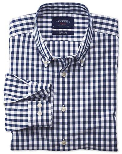 Bügelfreies Extra Slim Fit Hemd aus Popeline in marineblau mit Karos marineblau (Knopfmanschetten Cuff)