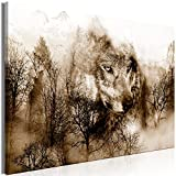 murando Bilder Wolf 90x60 cm - Leinwandbild - 1 Teilig - Kunstdruck - Modern - Wandbilder XXL - Wanddekoration - Design - Wand Bild - Berge Landschaft Orange Braun g-A-0140-b-c