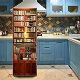 3D Bücherregal Aufkleber Wand Kühlschrank Tür Aufkleber Abnehmbare Wasserdichte PVC Stickerwall Kunst Vinyl Wandbilder Küche Dekoration,60 * 150CM