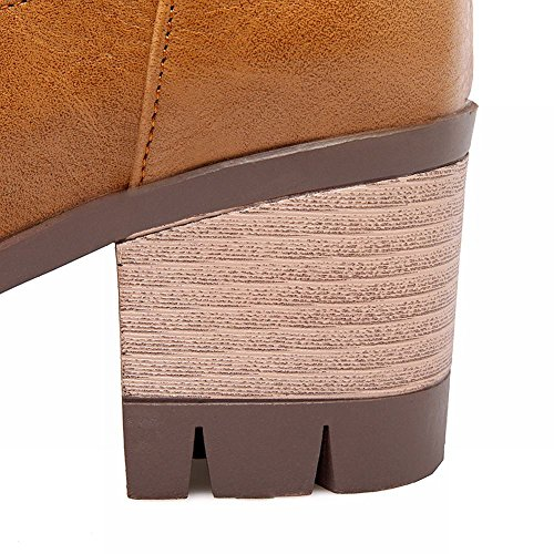 Mee Heels Chunky Stiefel Plateau Gelbbraun Damen Langschaft Shoes qCZOrTqwF