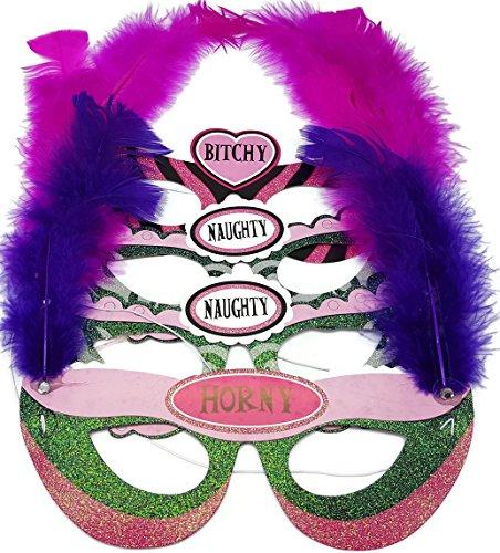 Bada Bing 4er Set Party Masken Federn pink Papier Pink JGA Karneval Sexy Ladys (Reggae Shark Kostüm)