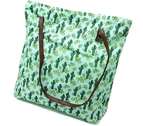 ATB04 - Tote Bag Sac Fourre-Tout Epaule Tissu Imprimé Cactus Vert